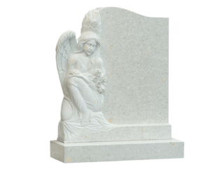 side angel headstone