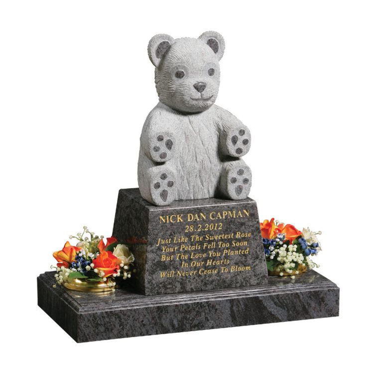 Fully Carved Teddy Headstone image 1