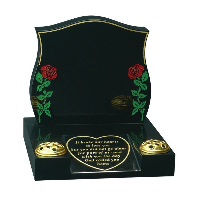 Two Roses and Heart Small Memorial image 1
