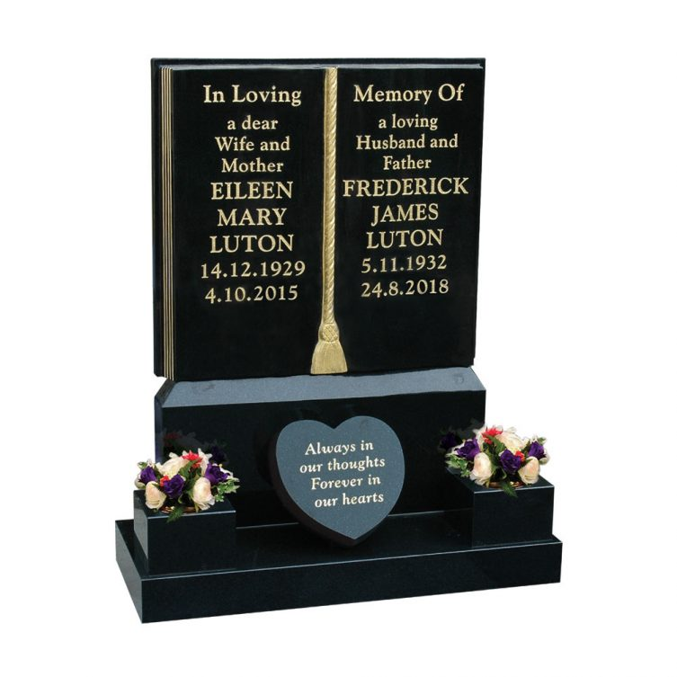 Gilded Book Headstone image 1