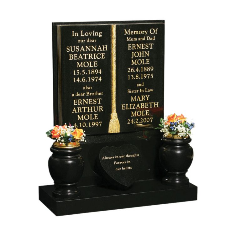 Tall Book and Vases Headstone image 2