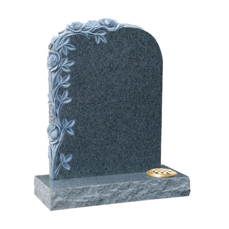 Polished Amp Pitched Dark Grey Granite Headstone 1st