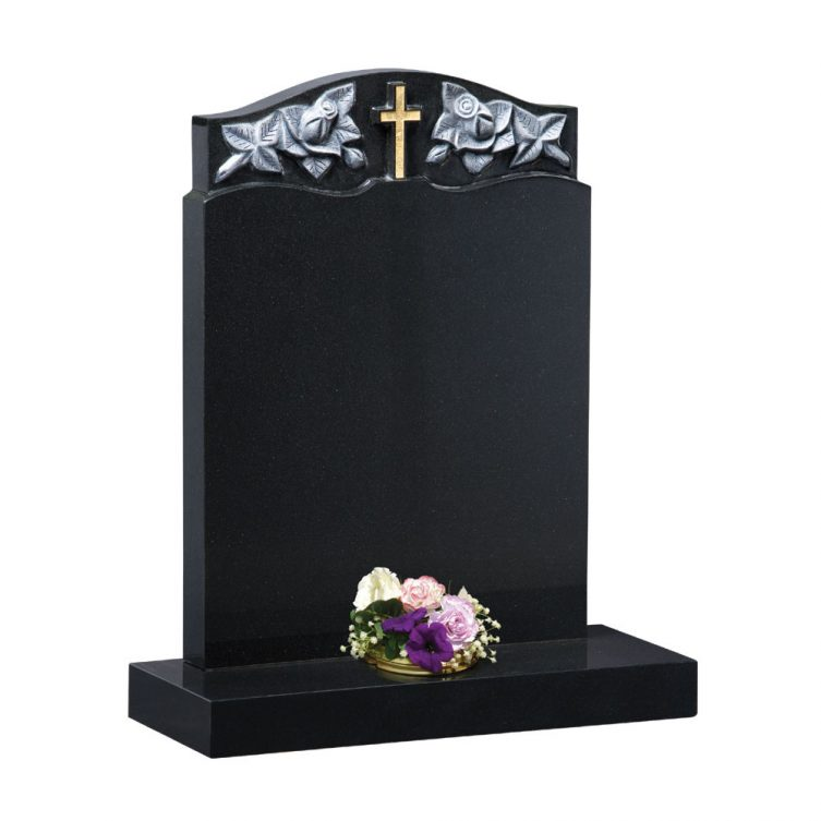Polished Black Granite Headstone