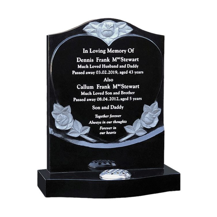 Highlighted Roses & Heart Headstone image 1