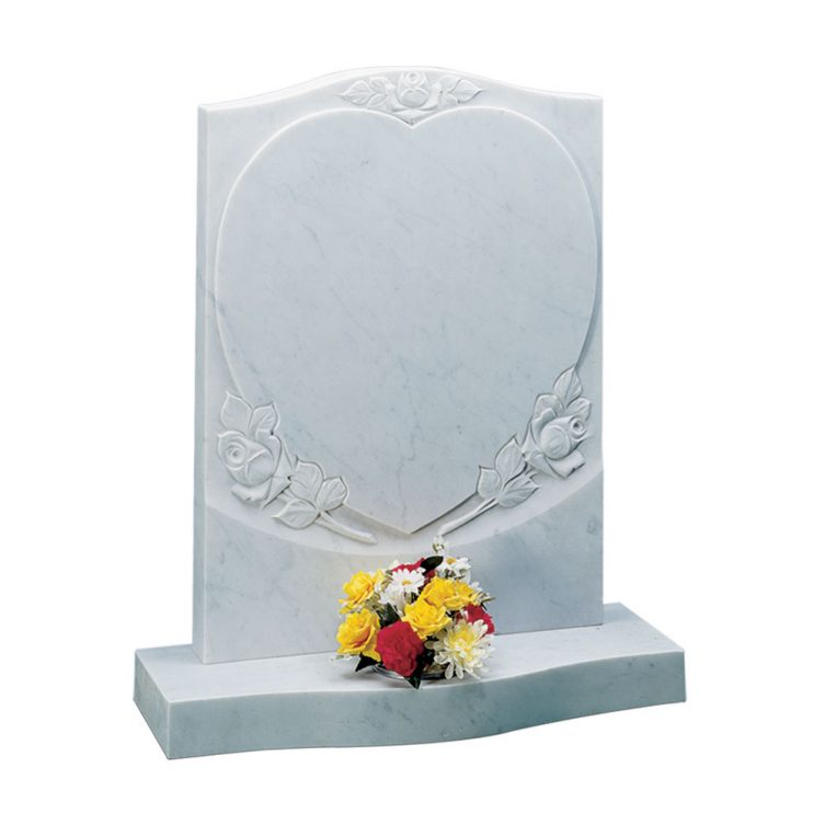 Carved Roses & Heart Headstone