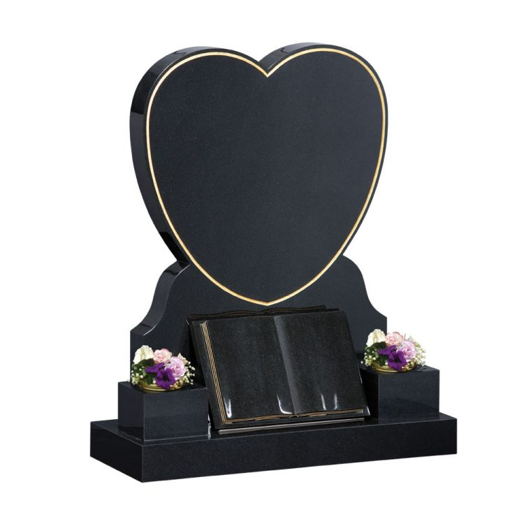 Large Heart and Book Headstone image 1