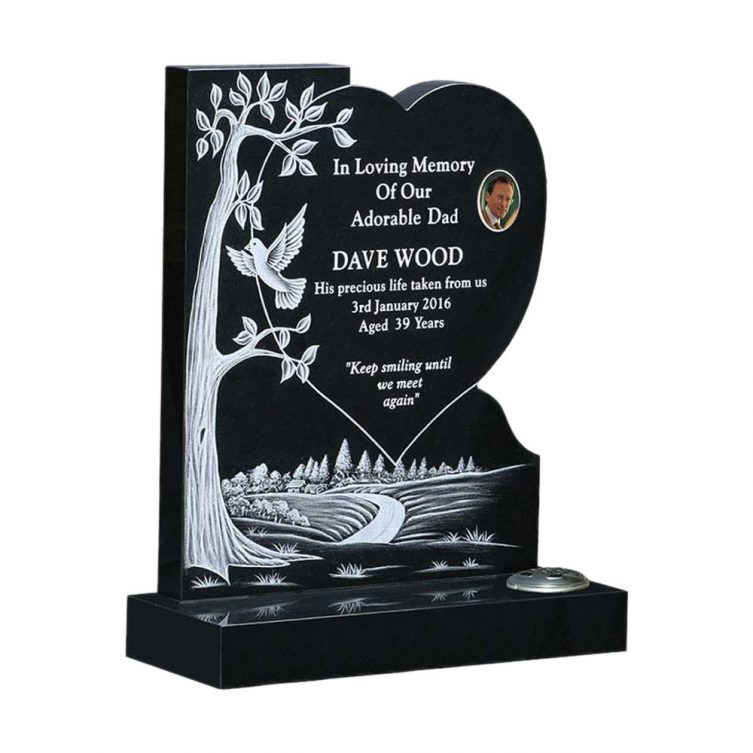 Landscape and Heart Headstone