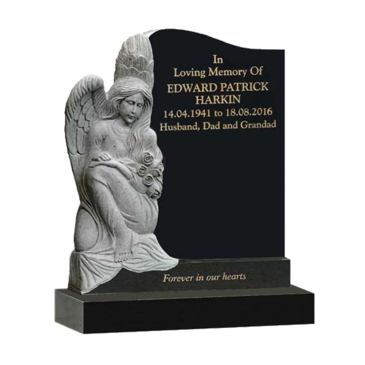 Carved Sitting Angel Headstone image 3