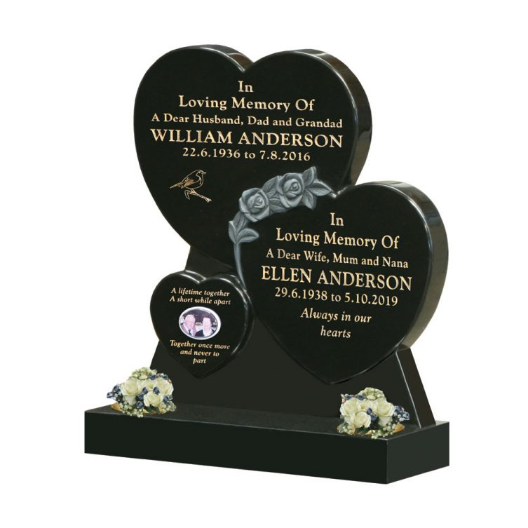 Triple Heart Headstone