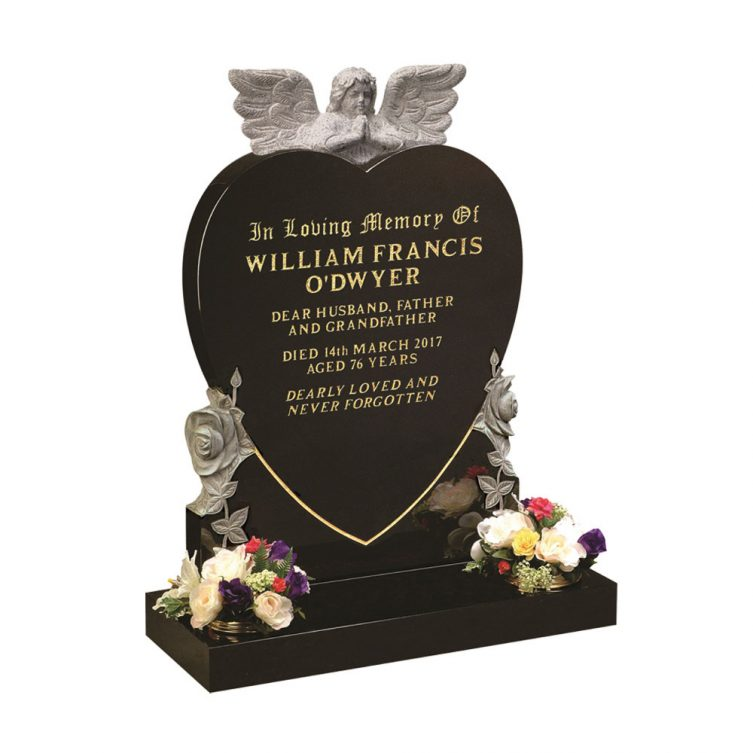 Praying Angel and Heart Headstone