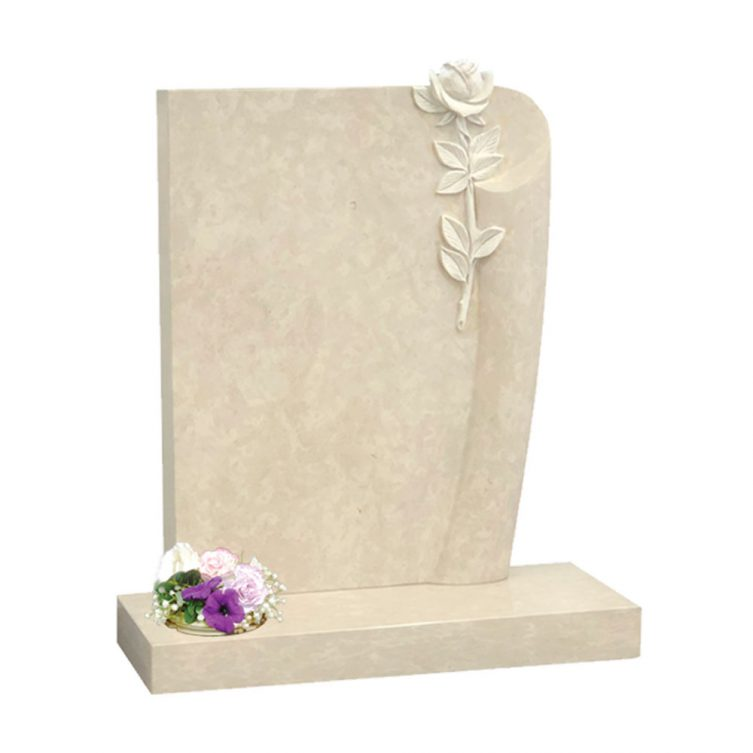 Scroll Edge and Rose Headstone