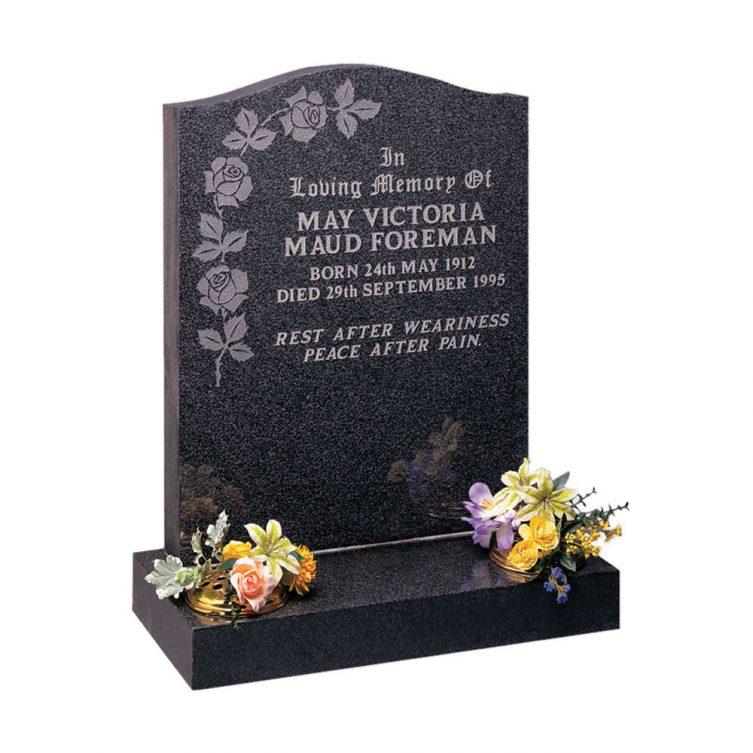 Polished Dark Grey Granite Headstone 1st Choice Memorials