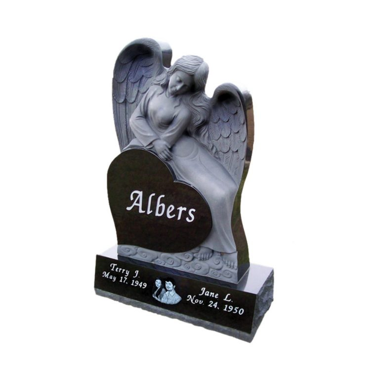 Heart and Angel Carved Headstone image 1