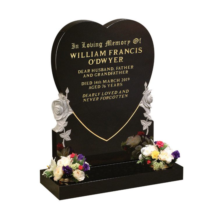 Large Heart and Roses Headstone