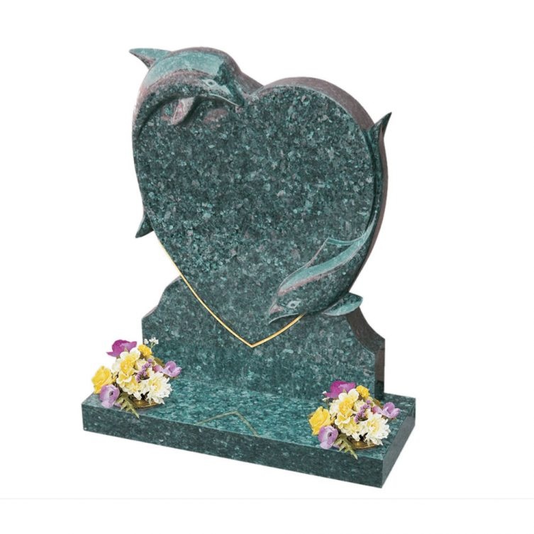 Heart and Dolphins Headstone image 2