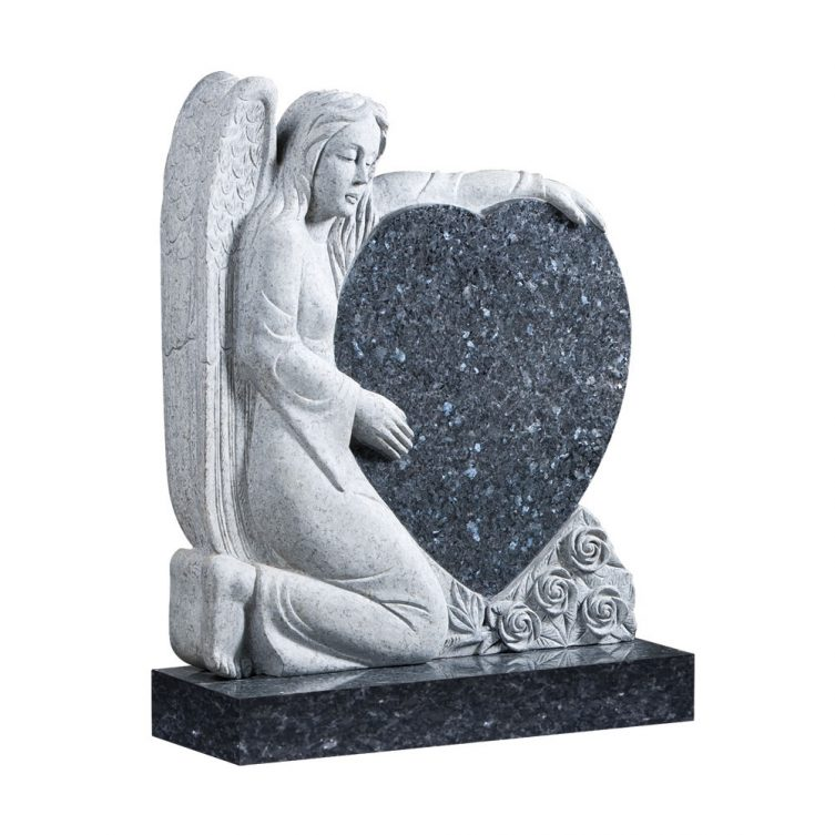Kneeling Angel and Heart Headstone