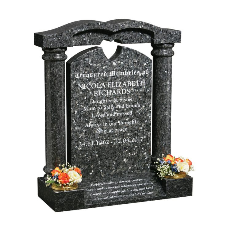 Splayed Base and Pillars Headstone