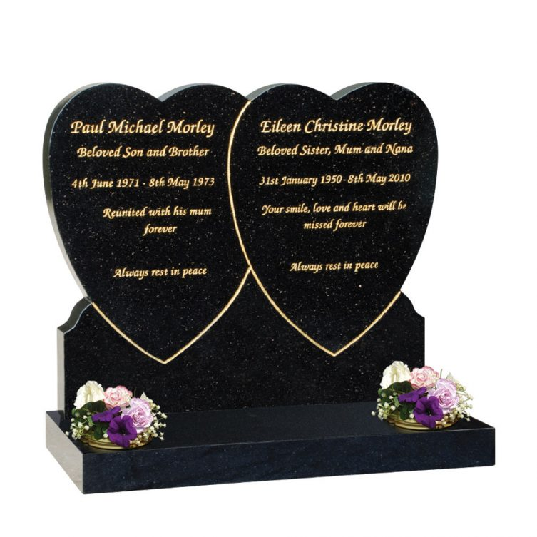 Double Heart Overlap Headstone