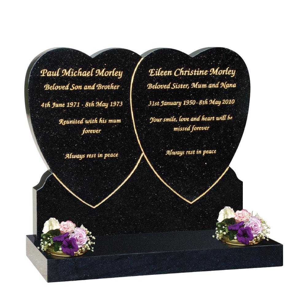 Double Heart Overlap Headstone