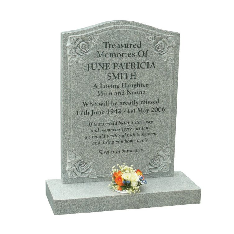 Honed Karin Grey Granite Headstone 1st Choice Memorials