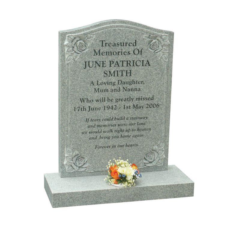 Honed Karin Grey Granite Headstone 1st Choice Memorials