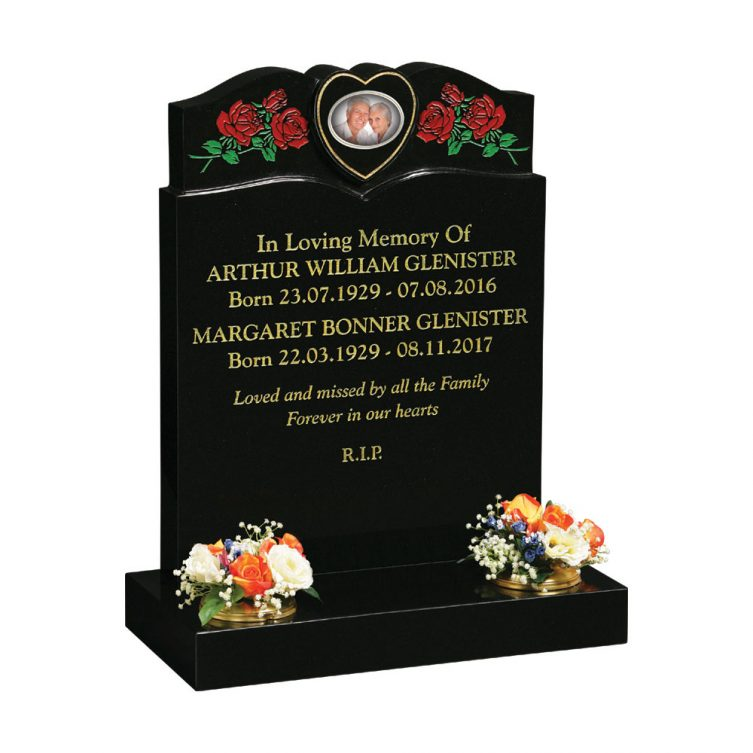 Red & Green Rose Headstone image 1
