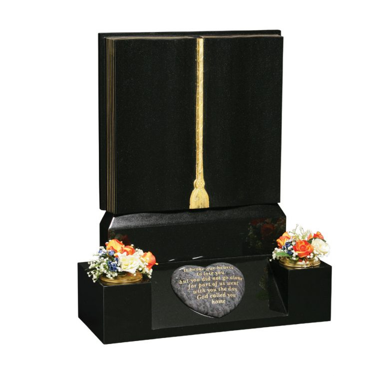 Gilded Book and Tassel Headstone image 1