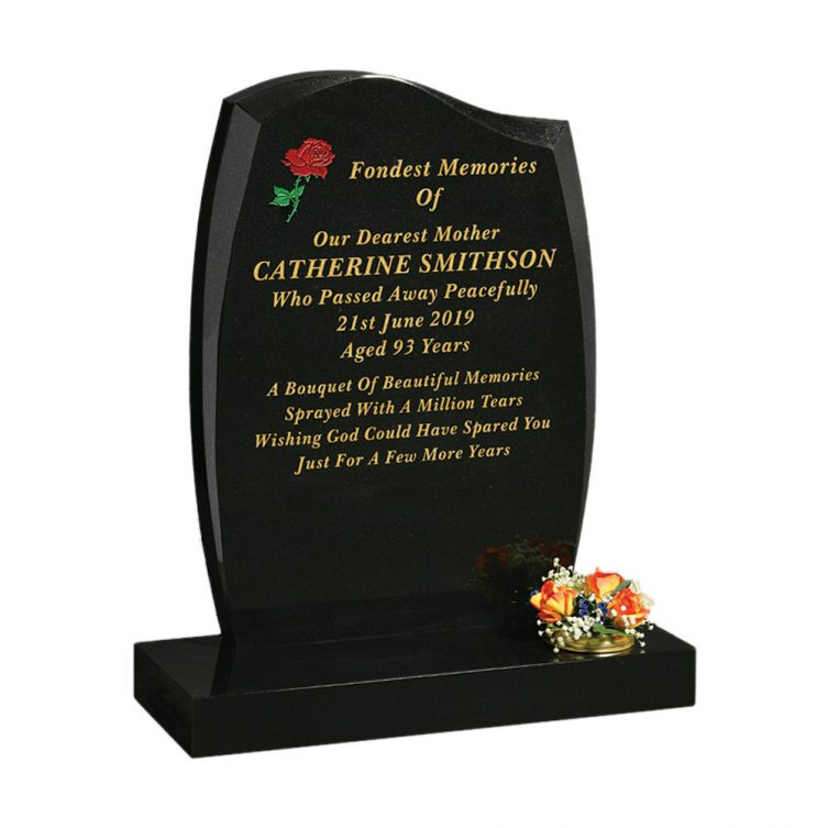Polished Black Granite Headstone 1st Choice Memorials