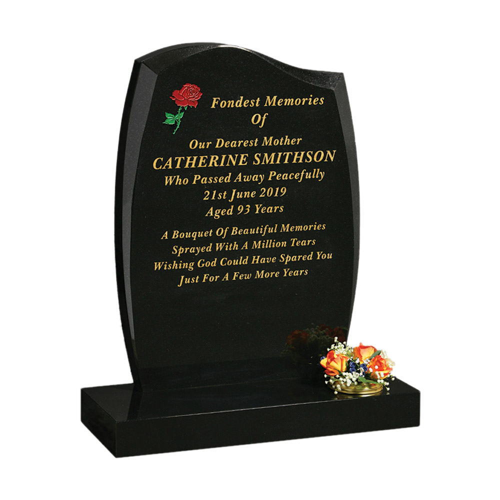 Anton Shape Headstone with Rose