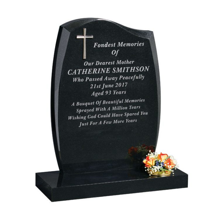 Anton Shape Headstone with Rose image 3