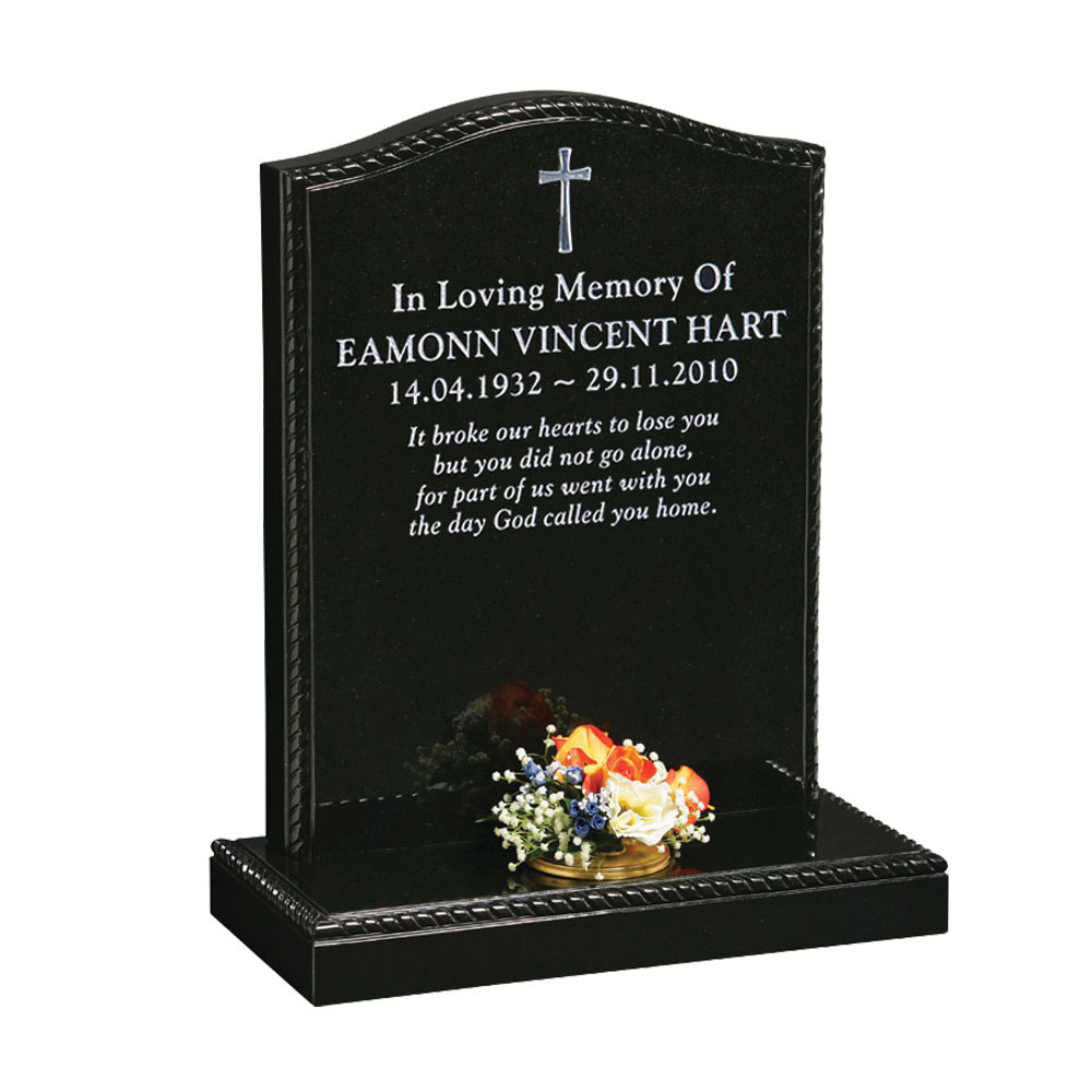 Cross and Rope Border Headstone