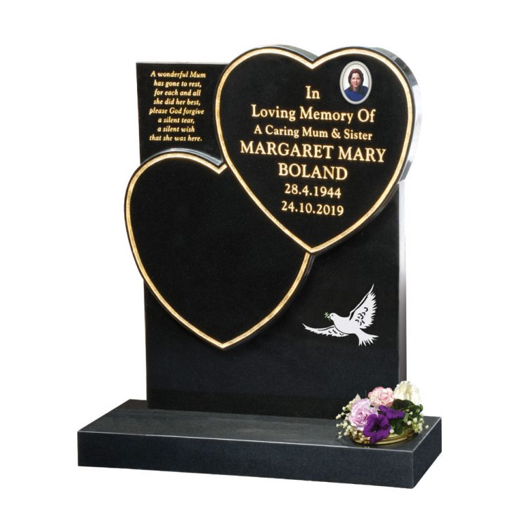 Double Heart and Dove Headstone