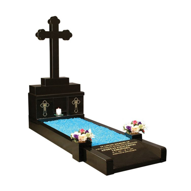 Kerbed Memorial with Cross and Candle Box image 1