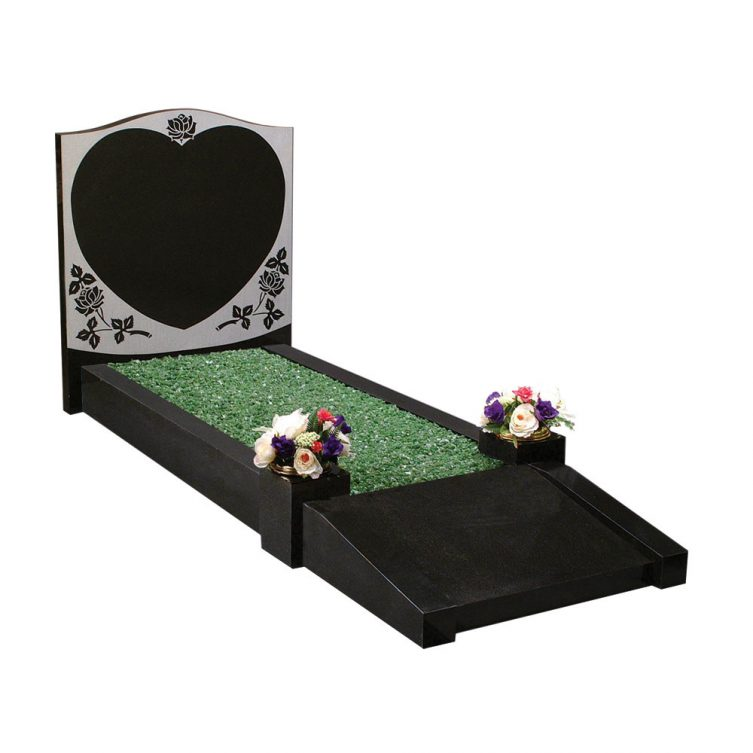 Heart and Foot Plate Kerbed Memorial image 1
