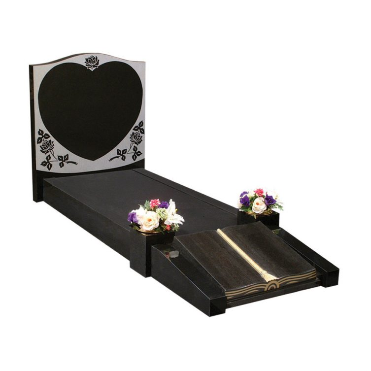 Heart and Shaped Book Kerbed Memorial image 1