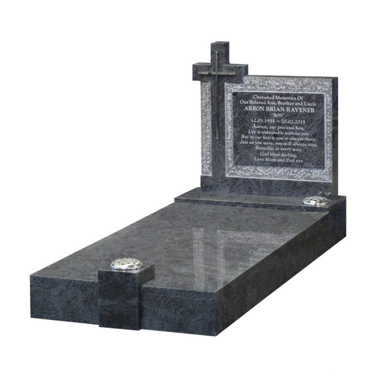 Pitched Kerbed Memorial with Cross image 1