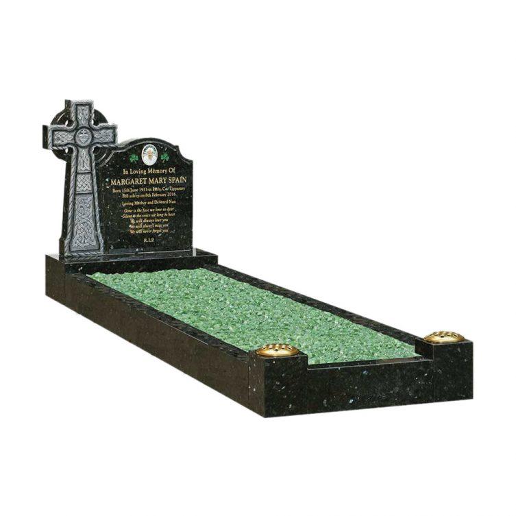 Ornate Celtic Cross Kerbed Memorial