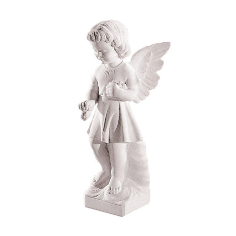 Cherub Holding Flower Memorial Statue image 1
