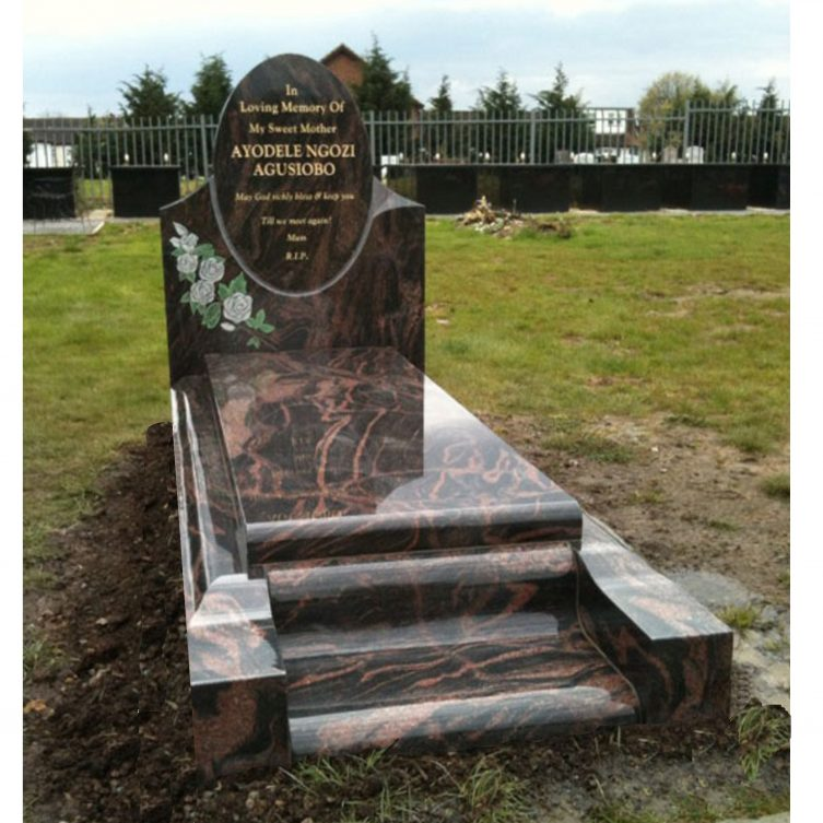 Oval Headstone with Roses and Kerbs