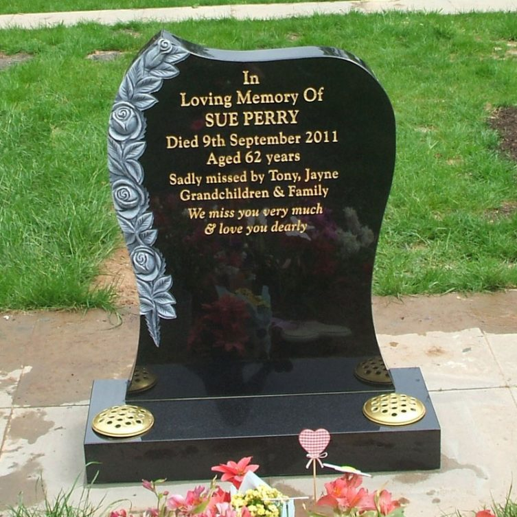 Curved Headstone with Carved Roses