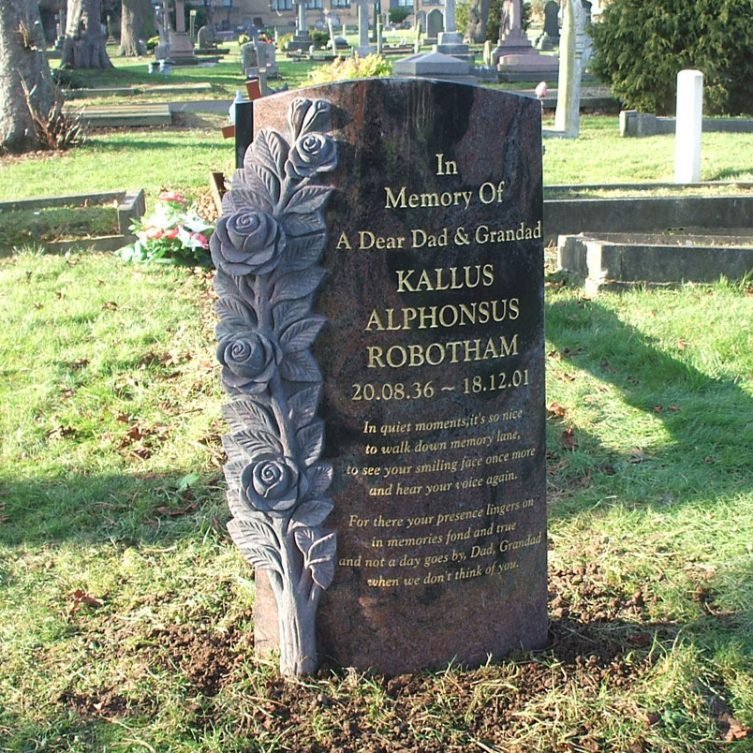 Deep-Carved Rose Headstone
