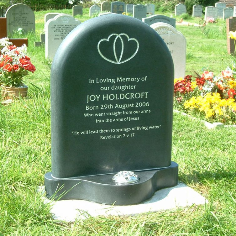 Smooth Stone Round-Top Headstone