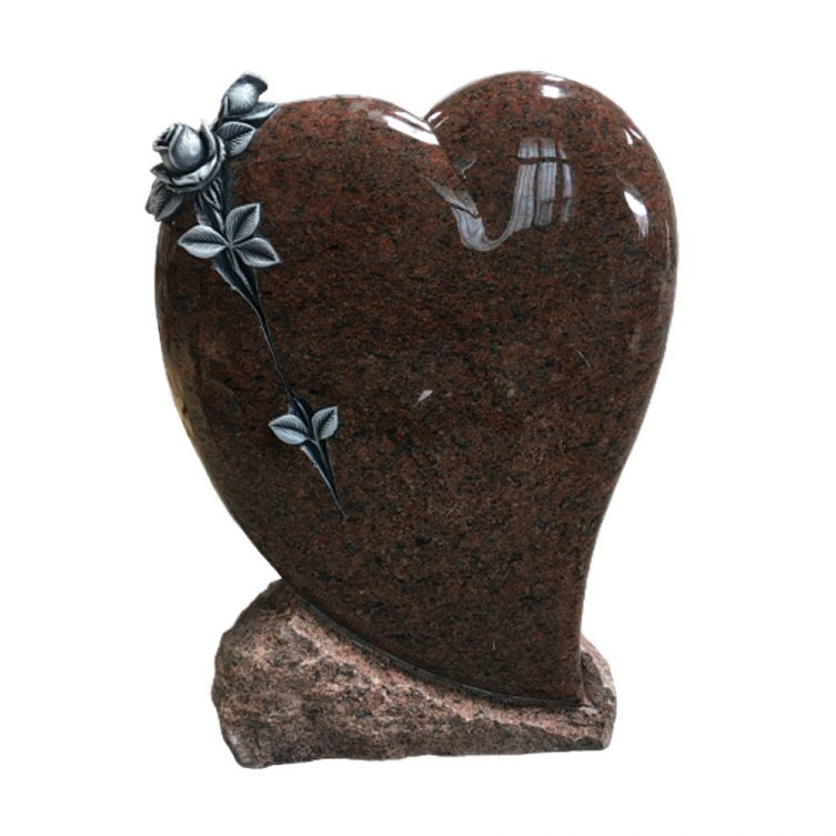 Cushioned Heart and Rose Headstone image 1