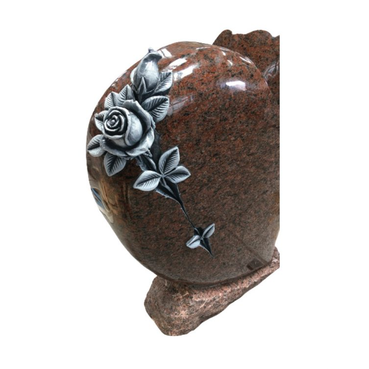 Cushioned Heart and Rose Headstone image 2